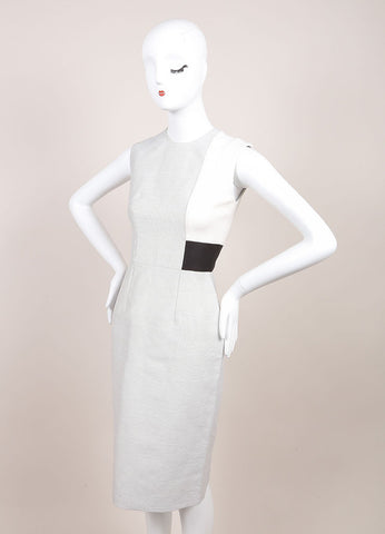 "Roksanda Ilincic New With Tags Grey, Cream, and Black ""Reyon"" Sheath Dress Sideview"