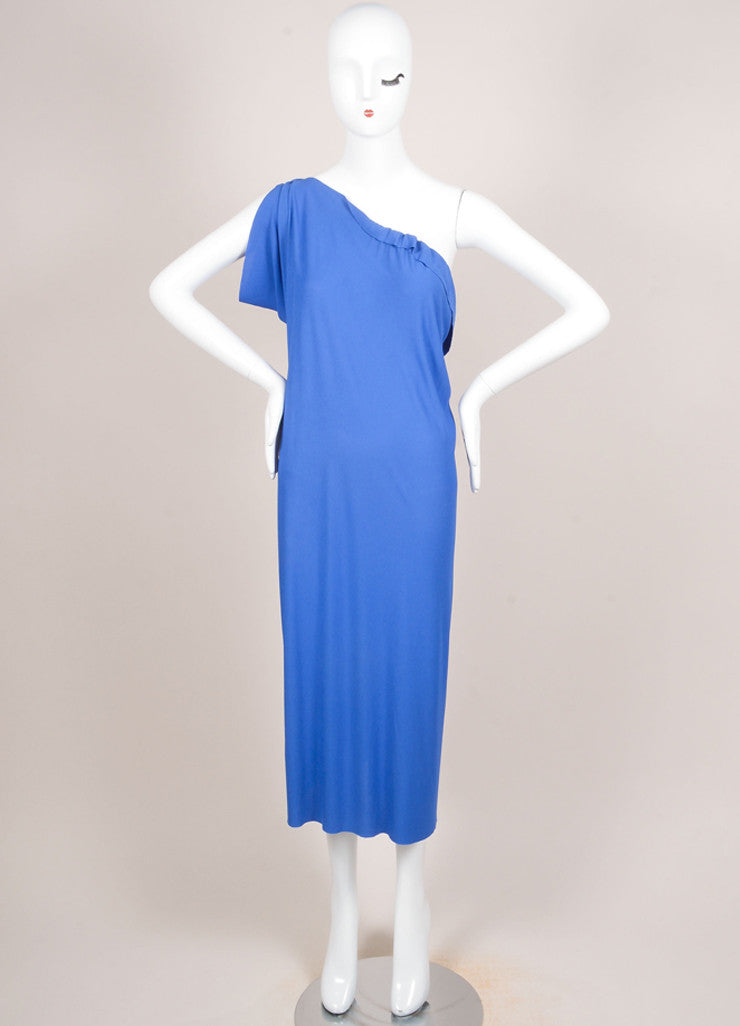 Roland Mouret Blue Periwinkle Jersey One Shoulder Dress Frontview