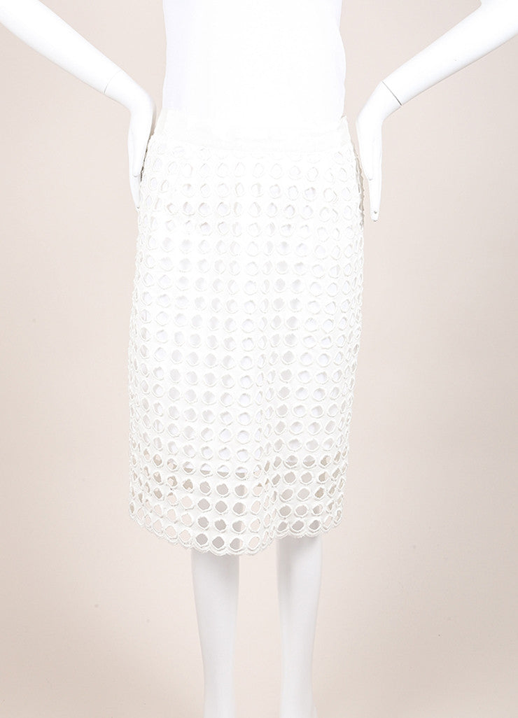 Sea New With Tags White Woven Knit Eyelet Overlay Pencil Skirt Frontview