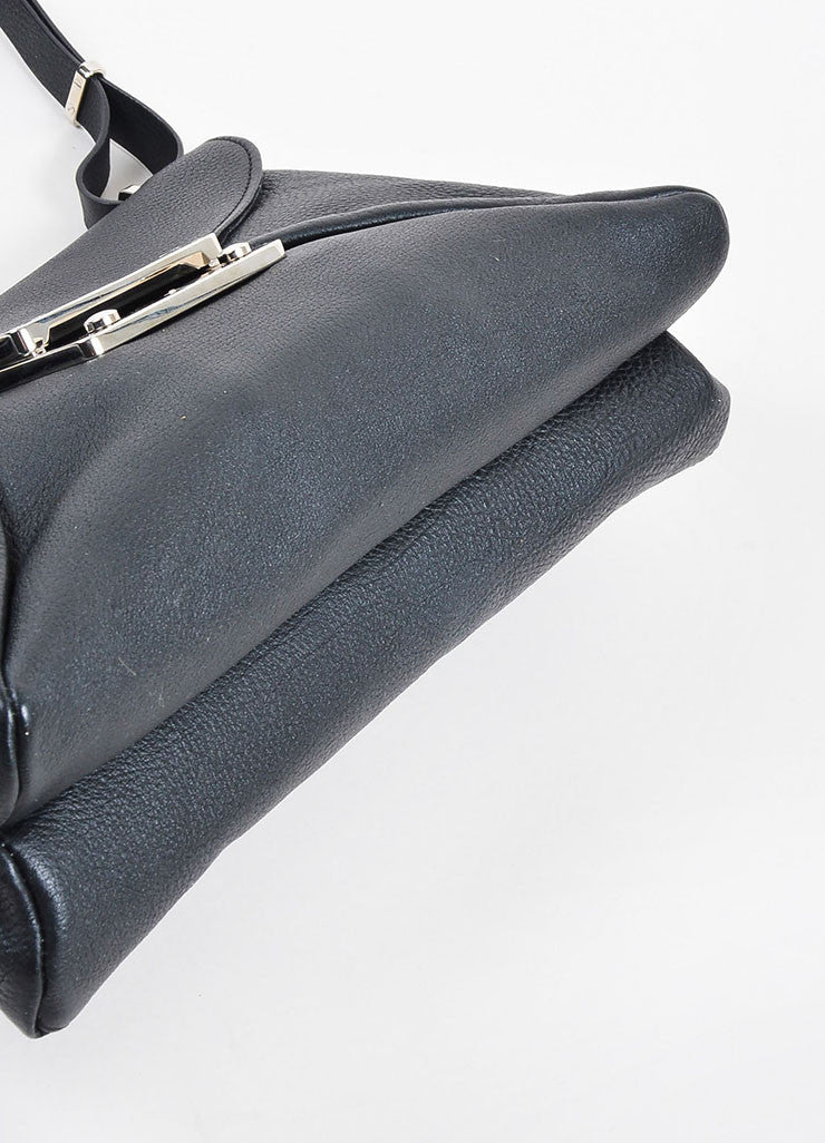 "VBH Black Leather ""Prive"" Envelope Shoulder Bag Bottom View"