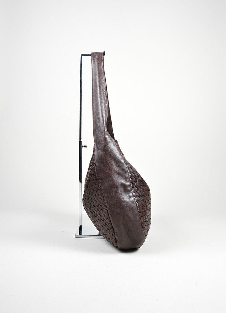 Brown Bottega Veneta Woven Intrecciato Leather Hobo Shoulder Bag Sideview
