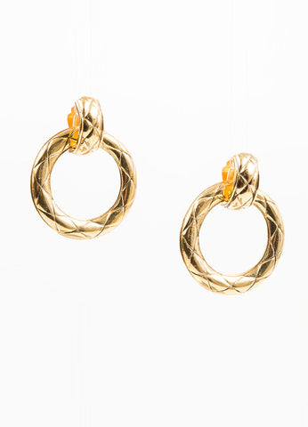 Gold Toned Chanel Quilted Convertible Drop Hoop Clip On Earrings Frontview