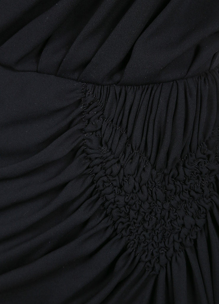 Galanos Black Draped Ruched Long Sleeve Dress Detail