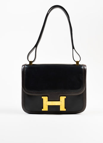 "Hermes Black and Brown Gold Toned Leather H ""Constance"" 24cm Shoulder Bag Frontview"