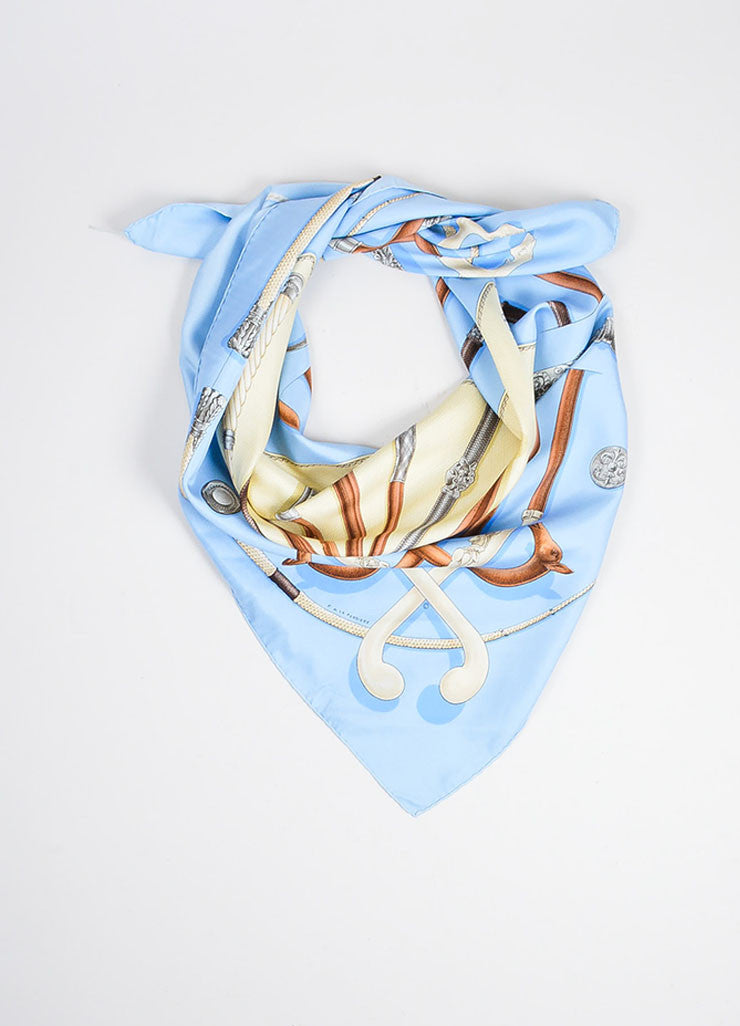 "Hermes Blue, Cream, and Multicolor Silk Cane Print ""Cannes & Pommeaux"" Scarf Frontview"