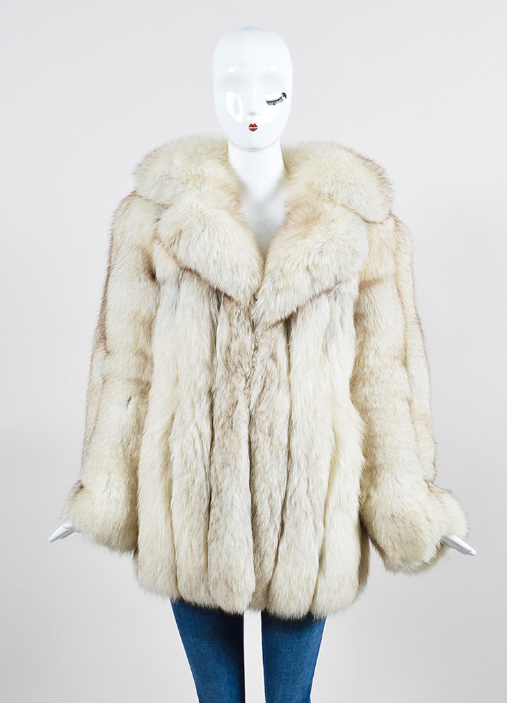 Cream and Brown I.Magnin Fur Channeled Coat Frontview 2