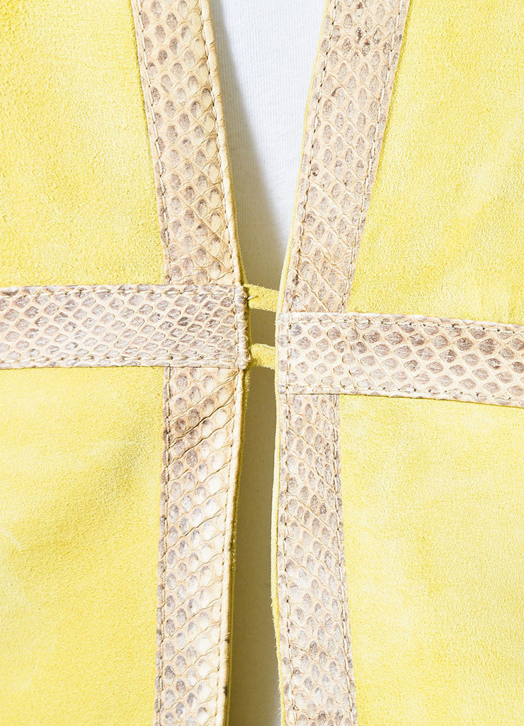 Valentino Chartreuse Yellow Suede and Ayers Snakeskin Trimmed Jacket Detail