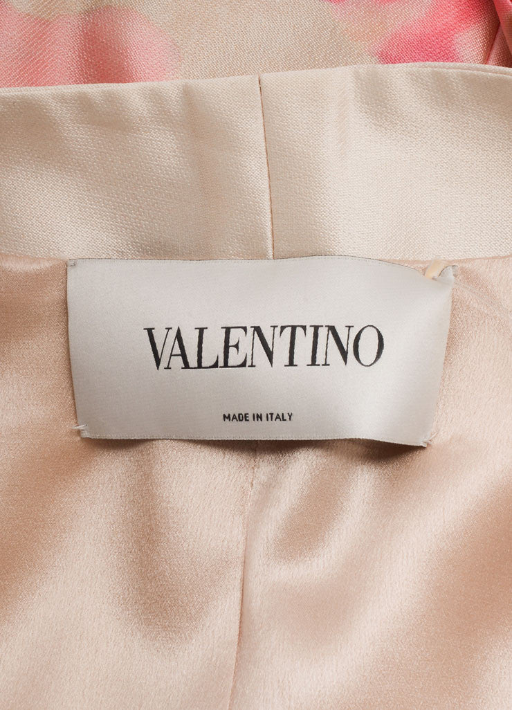 Valentino Cream and Pink Silky Water Color Floral Print Belted Short Sleeve Dress Brand
