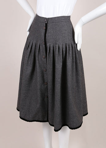 Valentino Grey Wool Front Button Midi Skirt Sideview