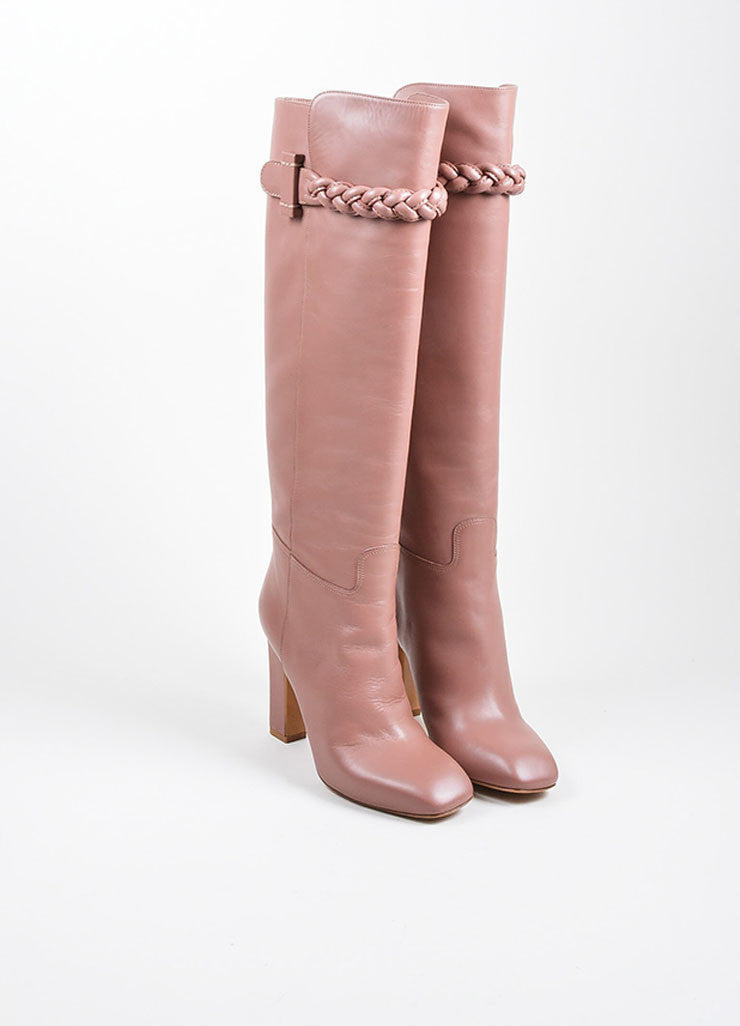 Mauve Pink Valentino Leather Braided Knee High Boots Frontview