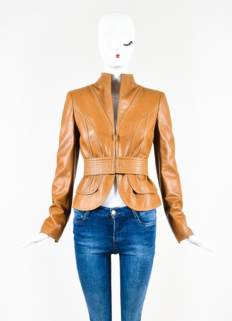 Valentino Camel Tan Leather Stitch Trim Belted Jacket  Frontview