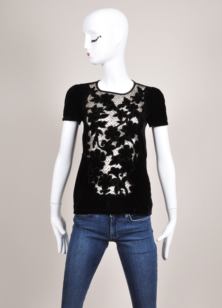 Valentino T-Shirt Couture Black Velvet Sequin Mesh Trim Top Frontview