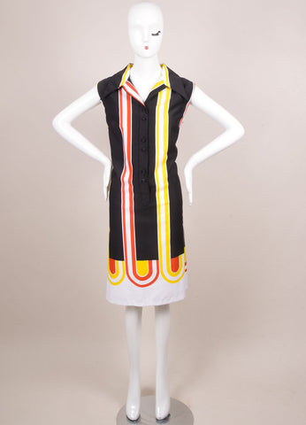 Lanvin Black, Red, and Yellow Striped Sleeveless Button Up Shift Dress Frontview