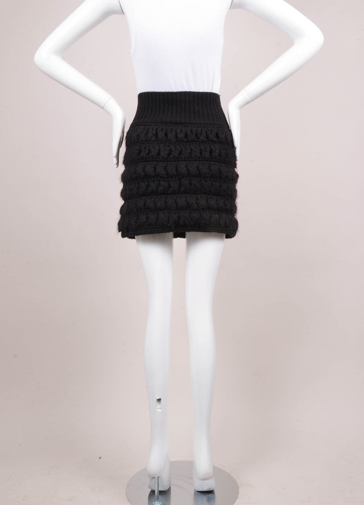 Black Wool and Camel Sweater Mini Skirt