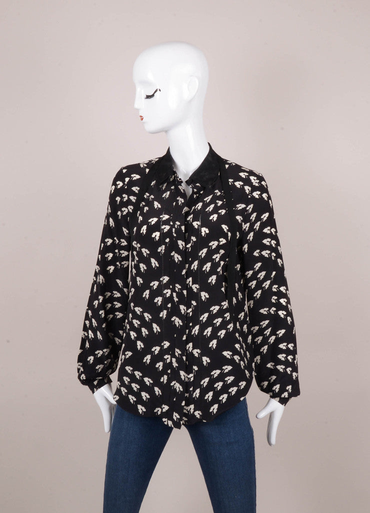 Black and White Leaf Print Long Sleeve Button Up Silk Blouse