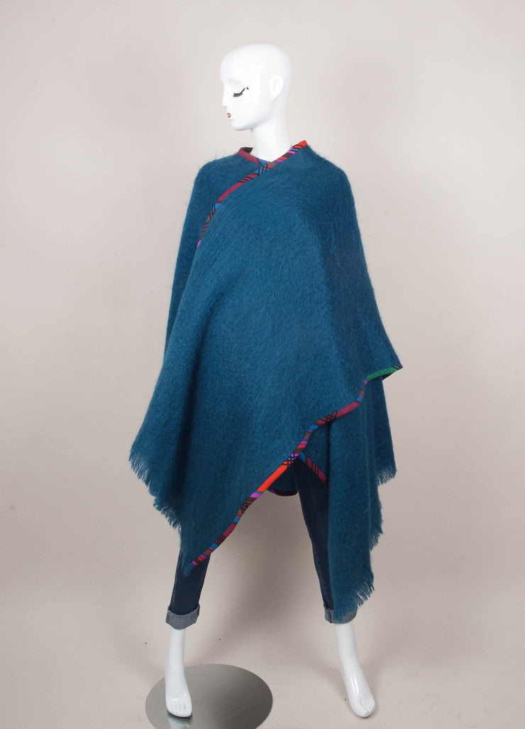 Blue and Multicolor Fuzzy Knit Wrap
