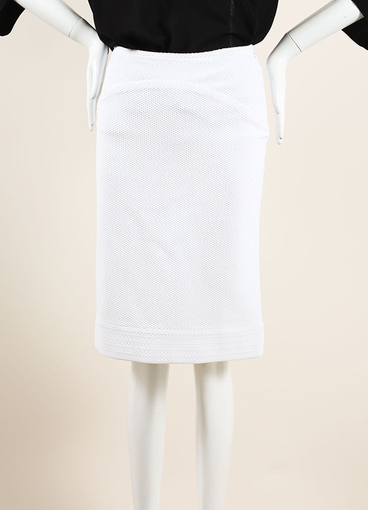 Alaia White Textured Stretch Knit Back Pleat Knee Length Skirt Frontview