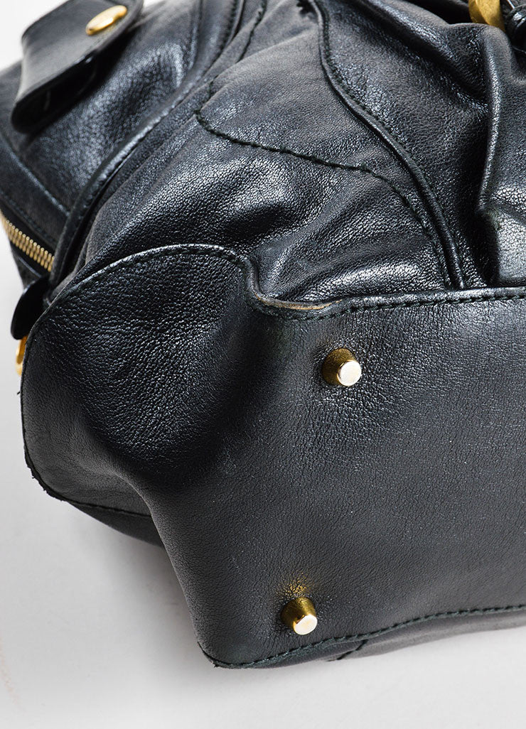 "Alexander McQueen Black and Gold Toned Leather Zip Up ""Flapper"" Tote Bag Detail"