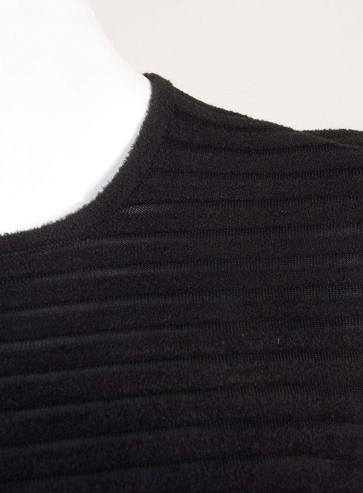 Alexander Wang Black Striped Chenille Long Sleeve High Low Peplum Top Detail