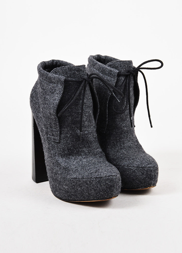 Alexander Wang Heather Grey Felted Wool High Heel Platform Ankle Booties Frontview
