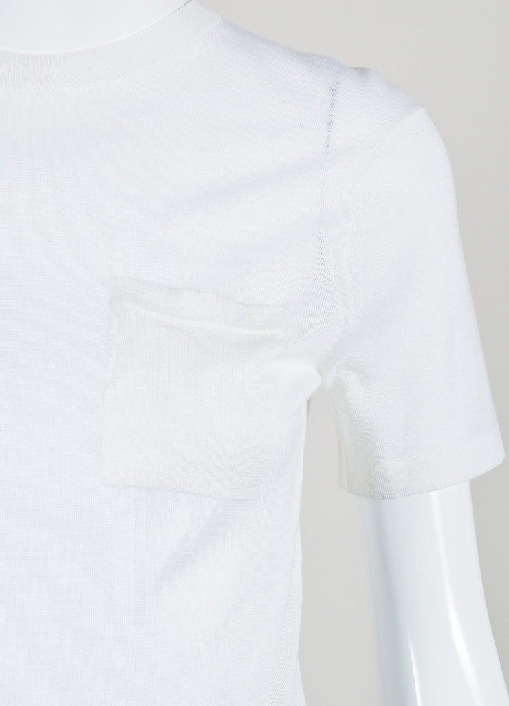 Alexander Wang Cream Wool and Silk Knit Short Sleeve Pocket T-Shirt Detail