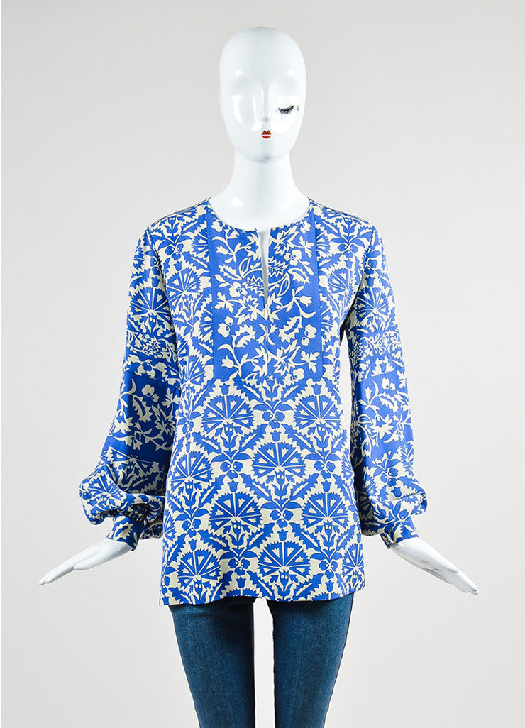 Royal Blue and Cream Andrew Gn Silk Floral Long Sleeve Tunic Top Frontview