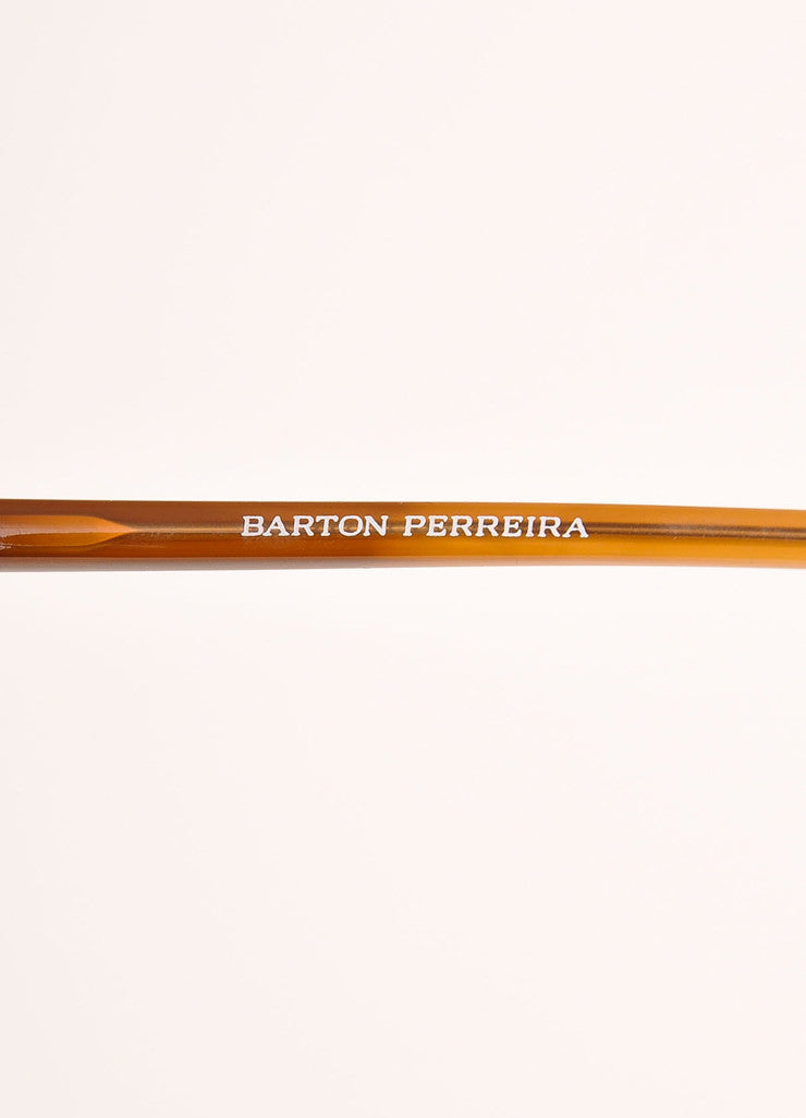 "Barton Perreira Brown and Gold Toned Oversized ""Centerfold"" Sunglasses Brand"