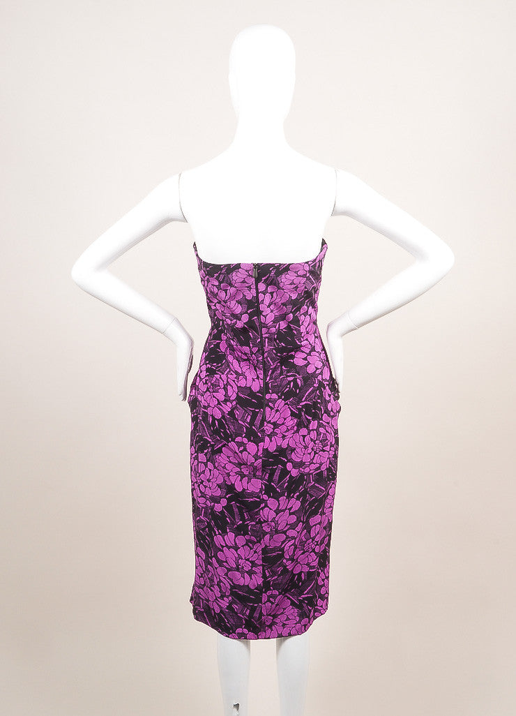 Bottega Veneta New With Tags Black and Purple Silk Floral Print Strapless Dress Backview