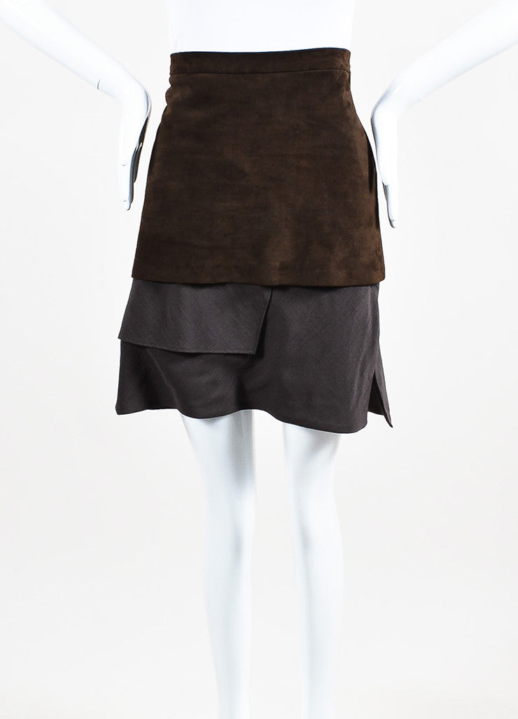 Brunello Cucinelli Brown Suede and Wool Blend Asymmetrically Tiered Skirt Frontview