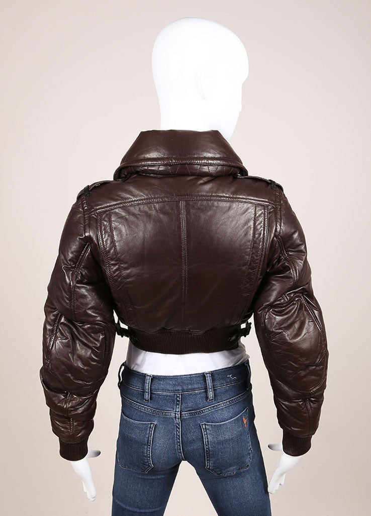 Burberry Prorsum Brown Leather Puffer Cropped Jacket Backview