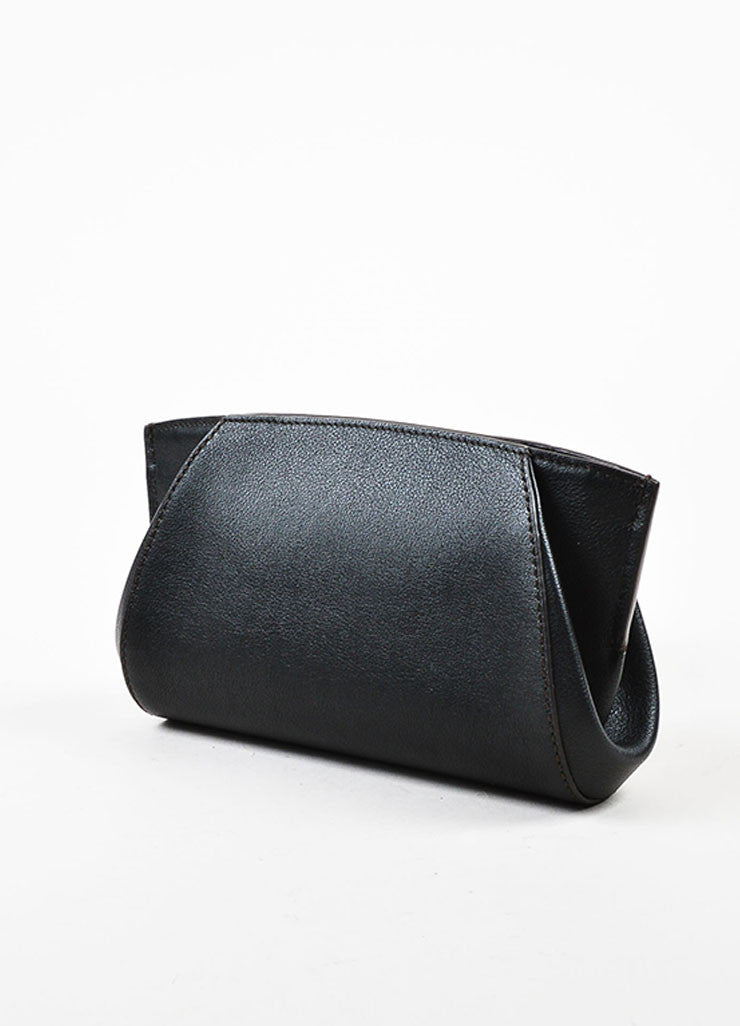 "Cartier ""Onyx"" Black Leather Winged Zipped ""C de Cartier"" Pouch Clutch Bag Sideview"