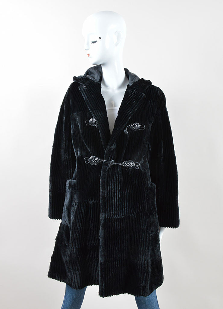 Black Cassin Ribbed Fur Braided Leather Toggle Hooded Coat Frontview