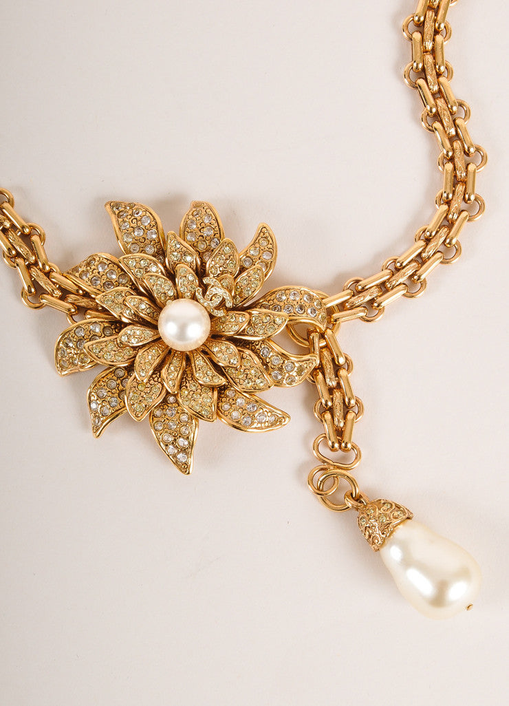 Chanel Gold Toned Flower Pendant Faux Pearl Rhinestone Reissue Chain Belt Detail