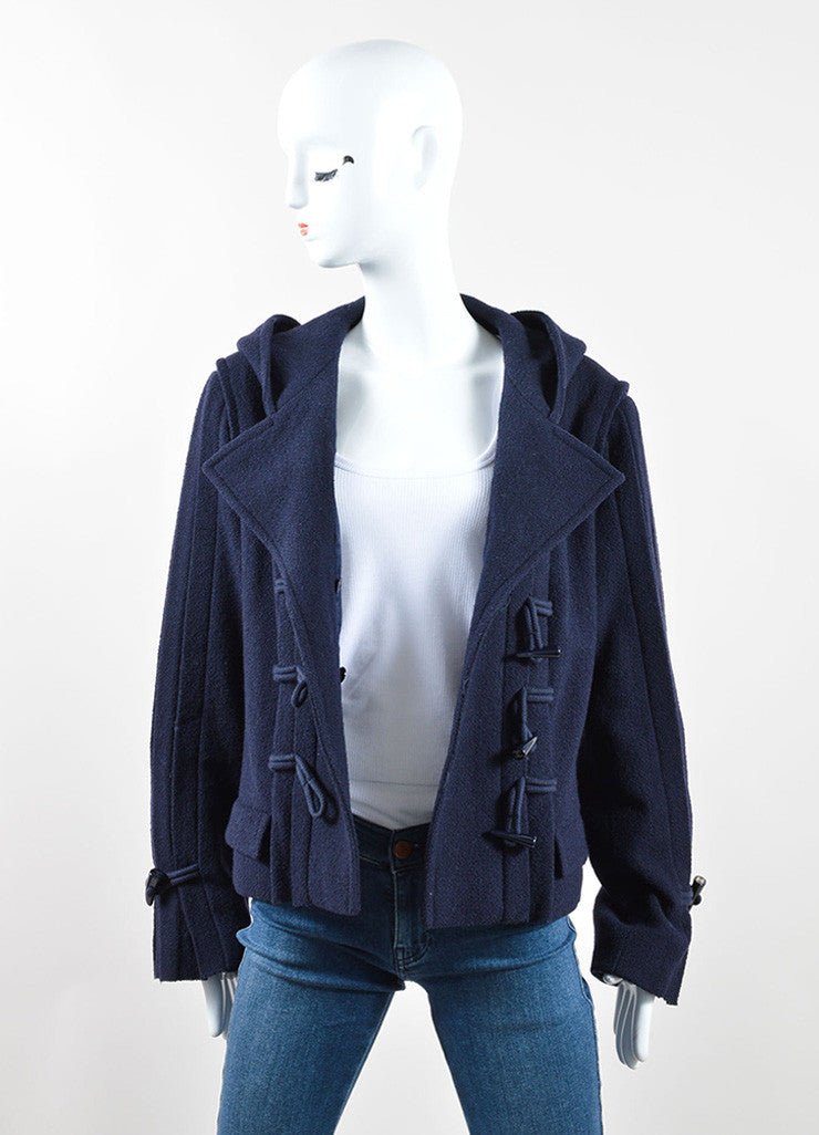 Chanel Navy Blue Wool Textured Hooded 'CC' Toggle Cropped Jacket Frontview