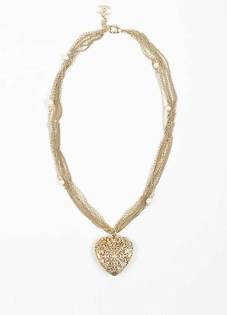 Gold Toned and Faux Pearl Chanel Multi Strand Cut Out Heart Pendant Necklace Frontview
