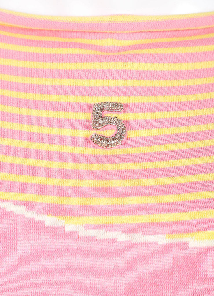 "Chanel Pink And Gray Multicolor Knit Cashmere Blend Printed ""5"" Sweater Detail"