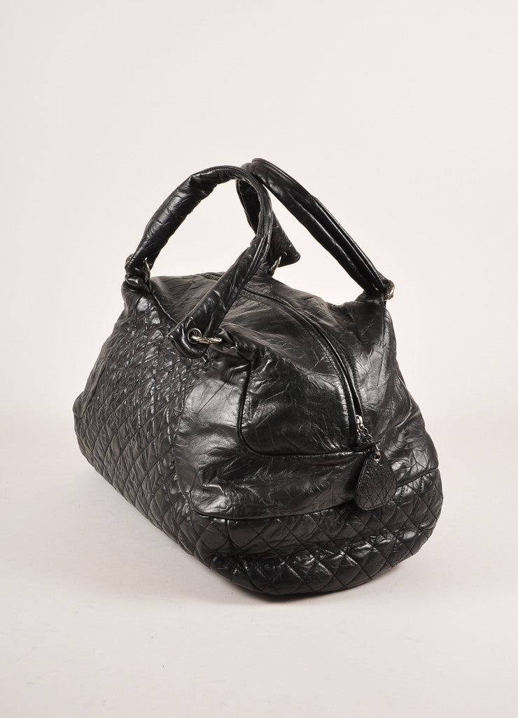 "Chanel Black Crinkle Leather ""CC"" Logo Large Bowler Bag Sideview"