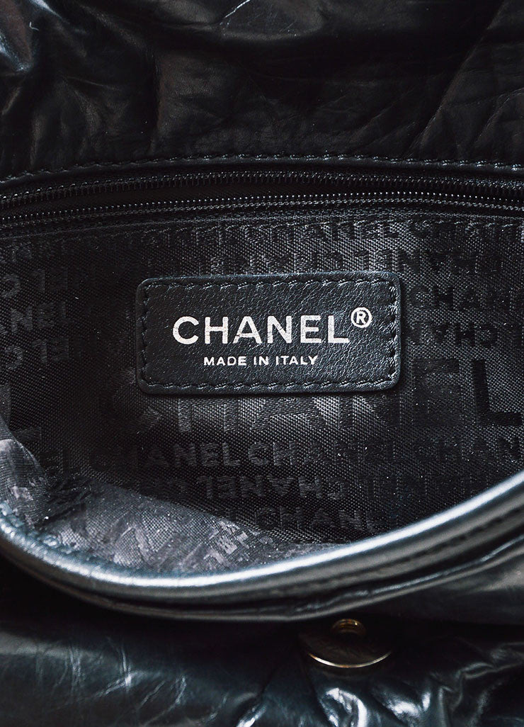 Black Chanel Leather Quilted 'CC' Logo Strap Crossbody Bag Brand