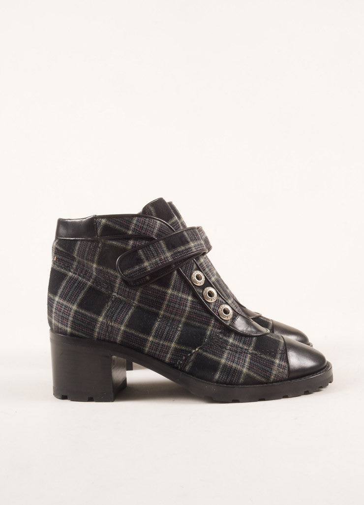 Chanel Black and Navy Leather and Wool Plaid Lug Ankle Boots Sideview