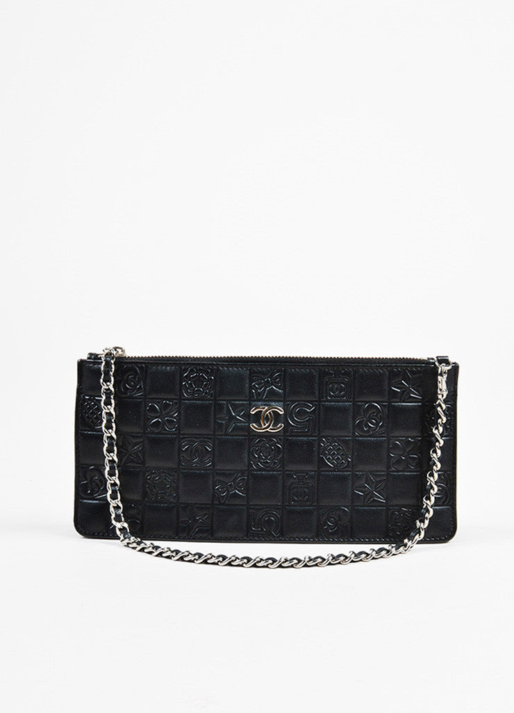 Chanel Black Quilted Embossed Leather 'CC' Logo Chain Strap Pochette Bag Frontview