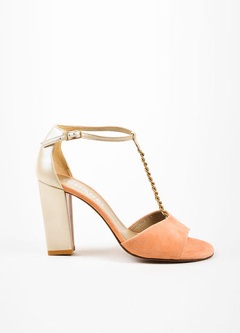 Coral Pink and Champagne Chanel Suede Leather T-Strap Chain Sandals Sideview