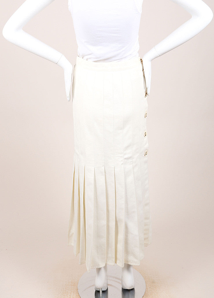Chanel Cream Twill Pleated Drop Waist Maxi Skirt Backview