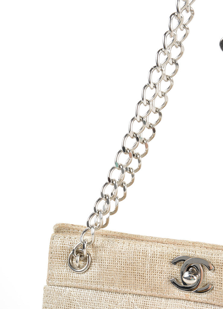 Chanel Gold Metallic Chain Strap Quilted Linen 'CC' Shoulder Bag Detail 2