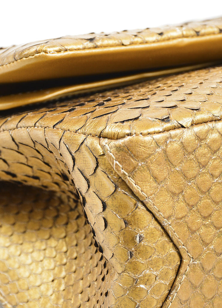 Chanel Gold Python 2.55 Reissue 226 Double Flap Bag Detail