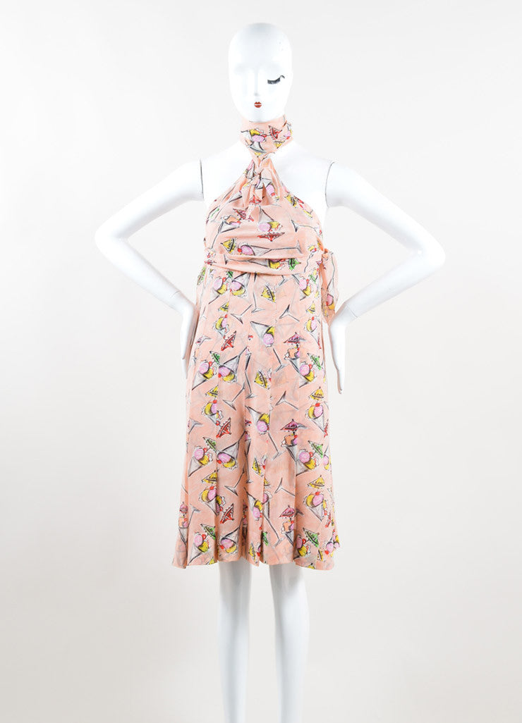 Chanel Light Pink and Multicolor Silk Chiffon Ice Cream Print Halter Dress Frontview