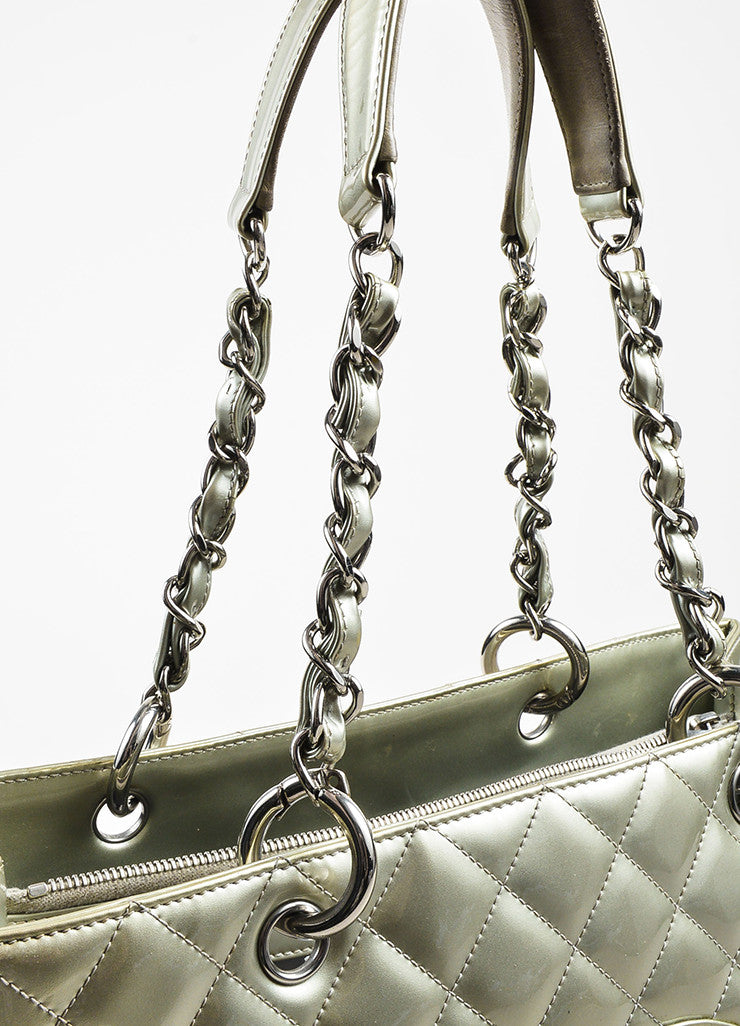 "Chanel Silver Patent Leather 'CC' Quilted ""Grand Shopping"" Tote Bag Detail 3"