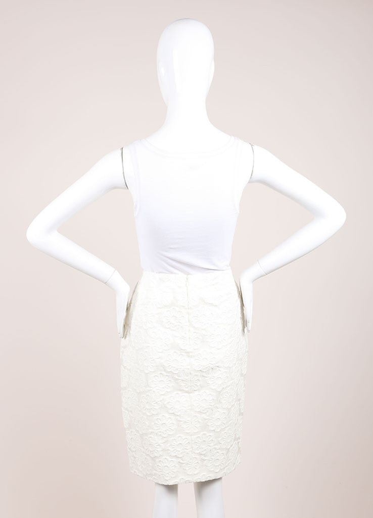 Chanel White Cotton Blend Flower Embroidered Pencil Skirt Backview