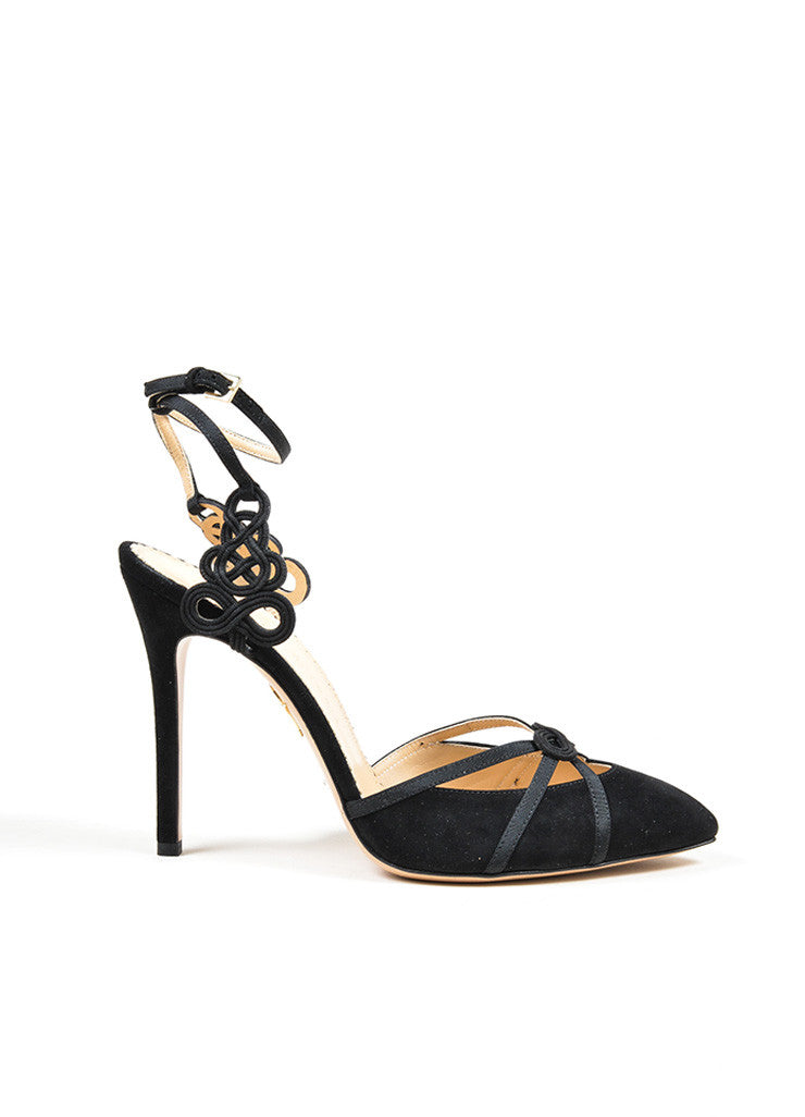 "Black Suede Charlotte Olympia ""Minx"" Knotted Ankle Strap Pumps Sideview"