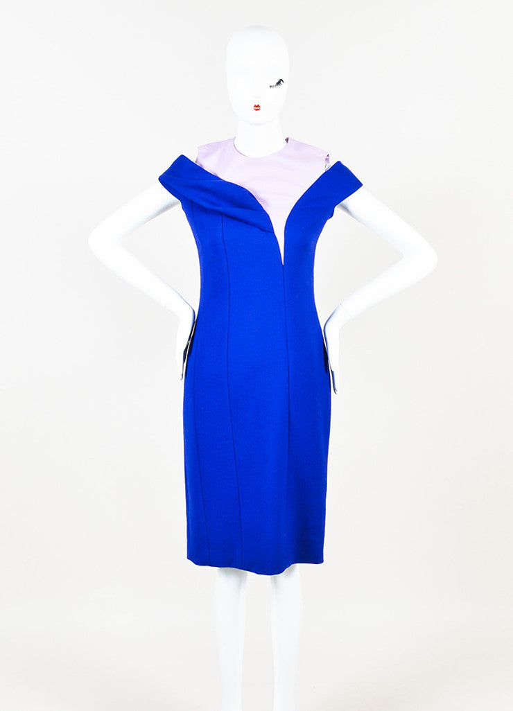 ¥éËChristian Dior Blue and Pink Wool Paneled Off The Shoulder Sheath Dress Frontview
