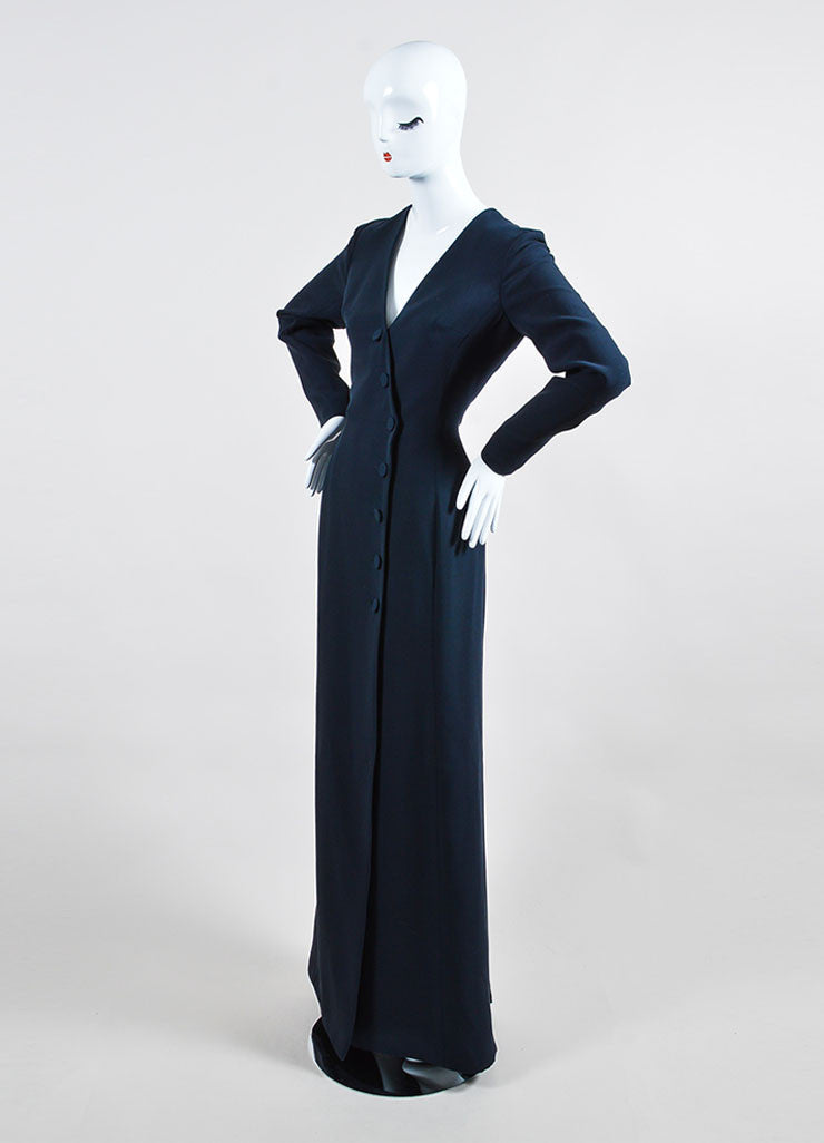 "Christian Dior Navy ""Bleu Marine"" Silk Wool Buttoned Long Sleeve Gown Sideview"